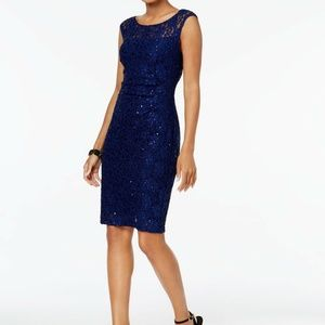Connected Sequined Lace Sheath Dress, Size 10